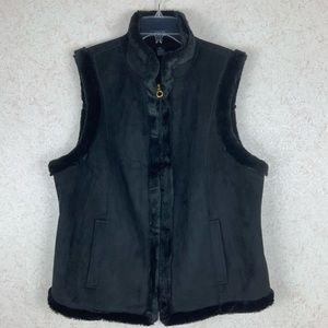 Chaps black faux fur suede vest